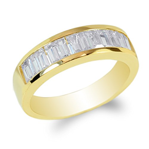JamesJenny Yellow Gold Plated Baguette CZ Channel Band Ring Size 9.5 ()