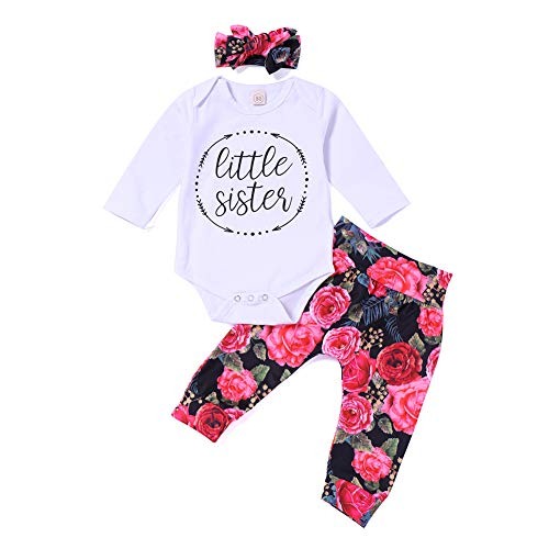 Infant Child Toddler Newborn Baby Girls Layette Set Print Romper+Plaid Pants+Hat Headband Outfits Set (Red, 6-12 Months)