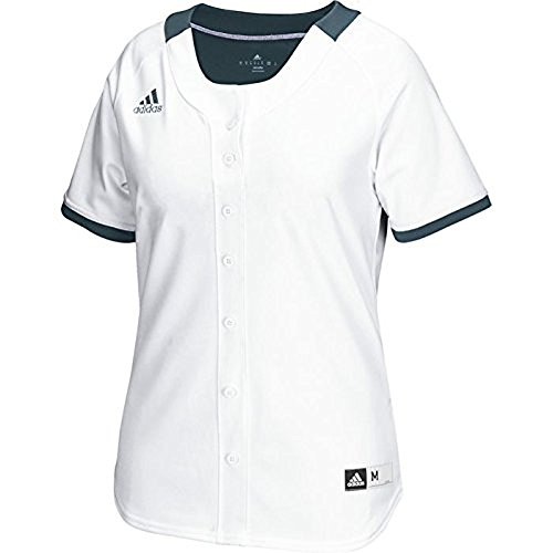 adidas Womens Diamond Queen Faux Full Button Jersey White-onix