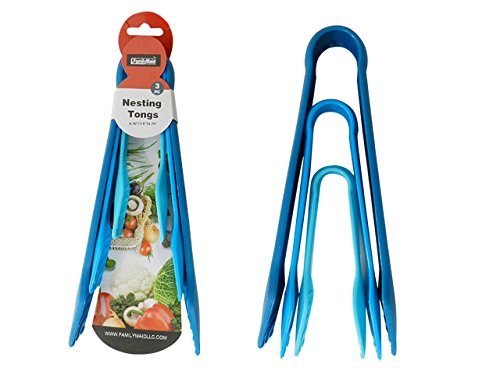 3PC Nesting Tongs, 9.75''L, 7.5''L, 5.75''L in Blue colors , Case of 96 by DollarItemDirect