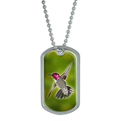 Graphics and More Hummingbird - Humming Bird Flying Military Dog Tag Keychain