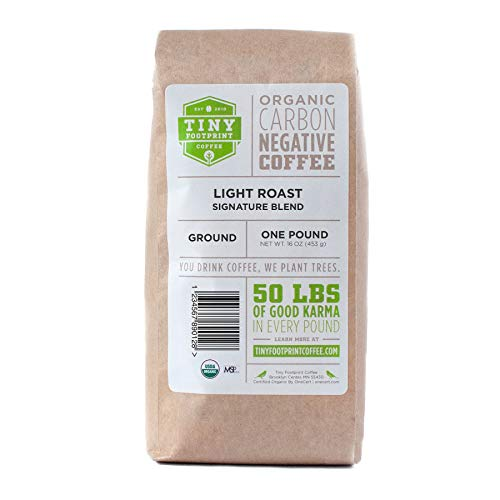 Tiny Footprint Coffee - The World's First Carbon Negative Coffee | Organic Signature Blend Light Roast, Ground Coffee | 16 Ounce (Pack of 2)