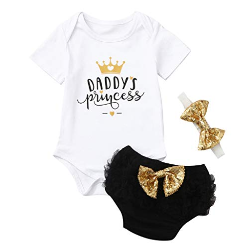 - ❤️ Mealeaf ❤️ 3PCS Cute Newborn Baby Girl Outfits Clothes Tops Romper+Tutu Shorts Pants Set(0-24M)