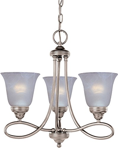 Maxim 11042MRSN Nova 3-Light Chandelier Single-Tier Chandelier, Satin Nickel Finish, Marble Glass, MB Incandescent Incandescent Bulb , 60W Max., Dry Safety Rating, Standard Dimmable, Metal Shade Material, Rated Lumens