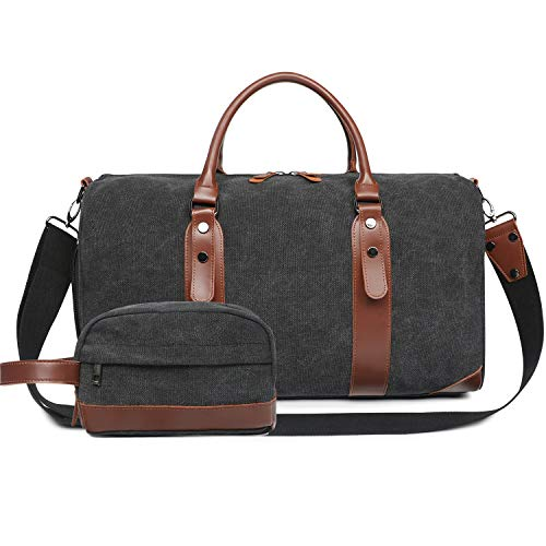 Oflamn Large Duffle Bag Canvas Leather Weekender Overnight Travel Carry On Tote Bag with Shoe Compartment and Toiletry Bag (Black) ()