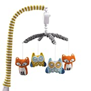 Lolli Living Baby Musical Mobile with Woods. Woodland Animal Knitted Character Wind-Up Mobile.