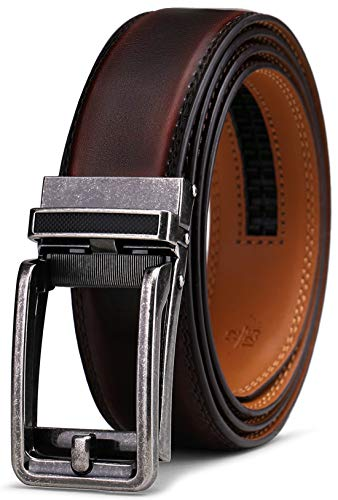 Belt for Men, Bulliant Men's Leather Ratchet Belt with Click