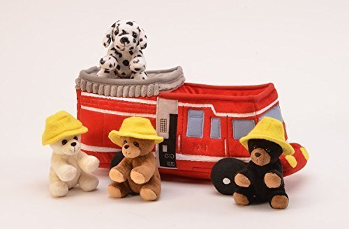 Plush Fire Truck with Stuffed Animals - 3 Bears with Hats and 1 Dalmatian Dog