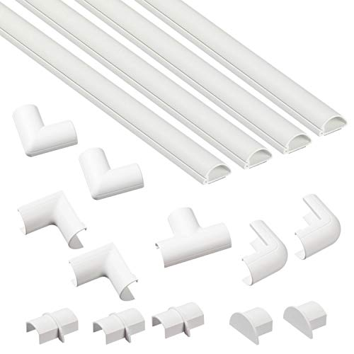 (D-Line Cable Raceway Kit - Micro+ | Self-Adhesive Wire Covers | Electrical Raceway, Popular Cable Organizer for Home Theater, TV, Office and Home | 4 x 39 Lengths Per Pack - White )