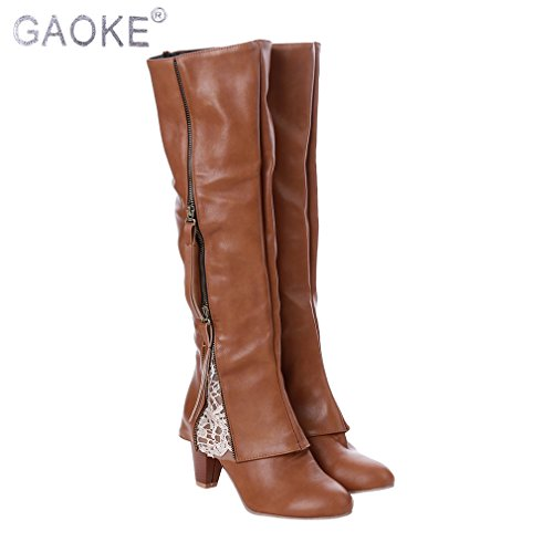 Iumer Womens Western Boot High Boots Riding Boots Fold Over Design Near The Ankle With Lace Detailing Vintage Khaki