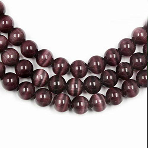 Calvas 6mm 68pcs/lot A Grade Cat Eye Beads Round Beads Spacer Glass Beads Jewelry Findings for Jewelry Making Bracelets Necklaces DIY - (Color: Purple)