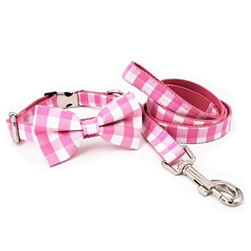 Free Sunday Pink Girl Dog Collar Leash with Detachable Bowtie Adjustable Size by Handmade(L(14''-23'' Length), Pink Combo) ()
