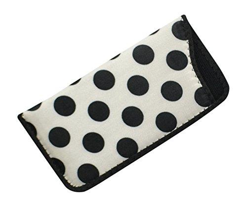 Soft Slip In Eyeglass Case And Holder For Women, Fun Polka Dot Design In White