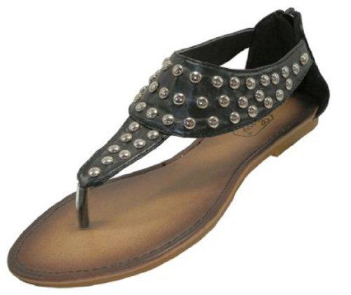 Womens Studded Roman Gladiator Sandals Flats Thong Shoes (10, Black 7700)