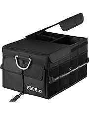 Favoto Organizer do bagażnika samochodowego z pokrywką, składany schowek, wiele przegródek, wytrzymały materiał Oxford, z odblaskami i regulowanymi paskami zabezpieczającymi, uchwyty do noszenia, do SUV, Sedan, Van, Cargo