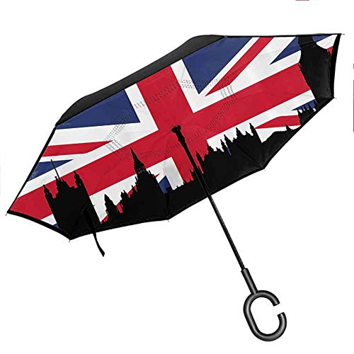 Wdkwkl Union Jack Travel Umbrella Houses of The Parliament Silhouette on UK Flag Historic Urban Skyline for Car/Rain/Sun, Royal Blue Black Red (Patio Uk Umbrella Sun)