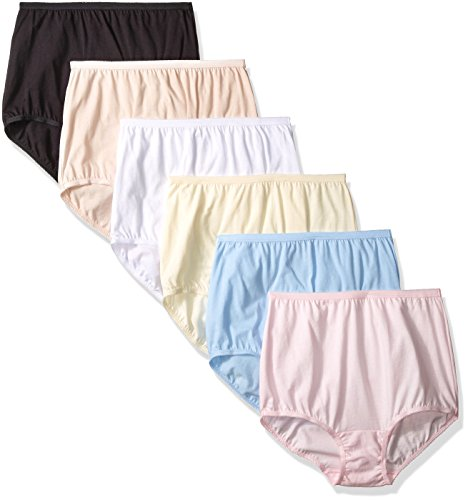 6 Pack Perfectly Yours Tailored Cotton Brief Panty 15316, Star White/Fawn/Candleglow/Sachet Blue/Ballet Pink/Midnight Black, Large/7 ()