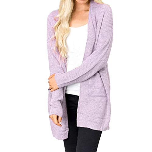 Caopixx Cardigan for Women Causal Long Sleeve Knitted Sweater Cover Up Kimono Cardigans Pockets ()