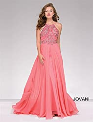 Women's Rhinestone Studded Long Evening Prom Dress