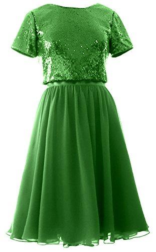 Green Bridesmaid Piece MACloth Gown Cap Two Chiffon Sleeves Sequin Dress Short Formal CqCwaTZ