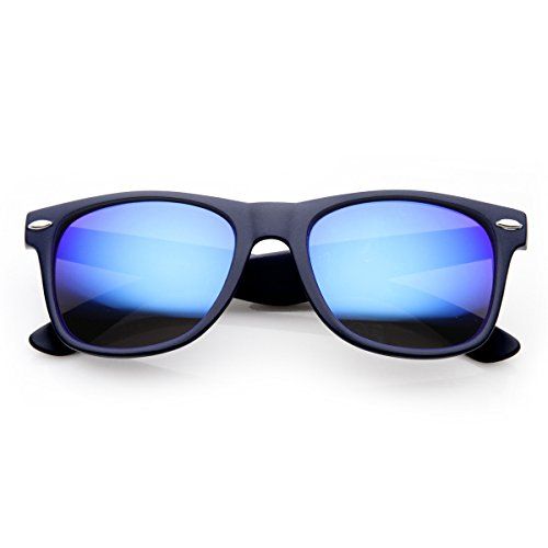 Blue Mirro Lens - Classic Horn Rimmed Sunglasses with Flash Mirro Lens (Blue Ice)