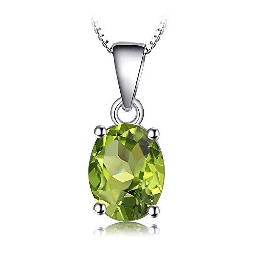JewelryPalace Gemstones Birthstone Necklace For Women 925 Sterling Silver Solitaire Pendant Necklace For Girls 1.7ct Natural Peridot Necklace Chain Box 18 Inches Oval Cut