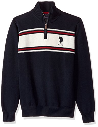 s Chest Stripe 1/4 Zip Sweater, Navy, X-Large (1/4 Zip Stripe Sweater)