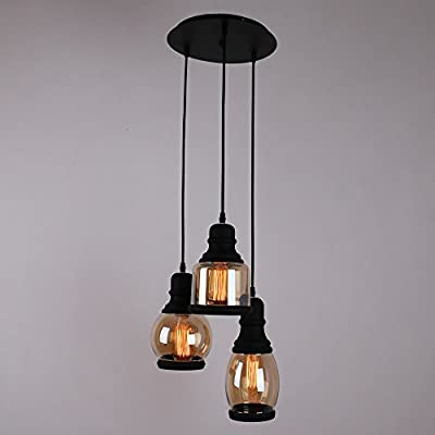 UNITARY BRAND Traditional Glass Shade Mason Jar Pendant Light Max 60W With 1 Light Plating Finish