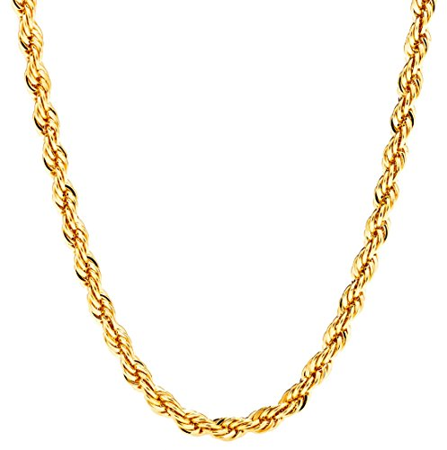 Lifetime Jewelry 5MM Rope Chain, 24K Gold with Inlaid Bronze Premium Fashion Jewelry Pendant Necklace Made to Wear Alone or with Pendants, Guaranteed for Life, 24 Inches