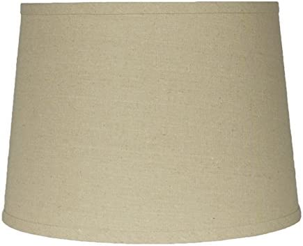 Urbanest French Drum Lampshade,Textured Flax Linen, 12-inch by 14-inch by 10-inch, Spider, Natural