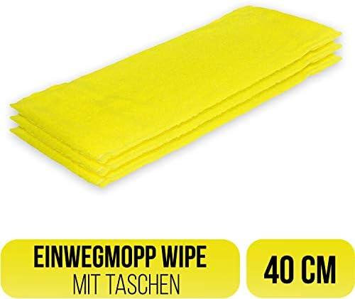 Filzada 3X Einweg Mopp Microfaser 40 cm - Mit Taschen - Mehr Hygiene Durch Einmal Anwendung - Alle Belagsarten
