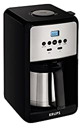 Krups Et351 Savoy Programmable Thermal Stainless Steel Filter Coffee Maker Machine With Bold & 1-4 Cup Function, 12-cup, Black