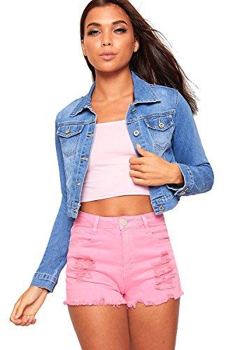 Wear Cropped Jacket (WearAll Women's Cropped Denim Jacket Biker Long Sleeve Button Coat Short Pocket - Blue - US 8 (UK 12))