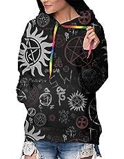 Bovennatuurlijke Symbolen Zwarte Vrouwen Hoodie Lange Mouw Sweatshirt Dames Print Pullover Hooded Jacket