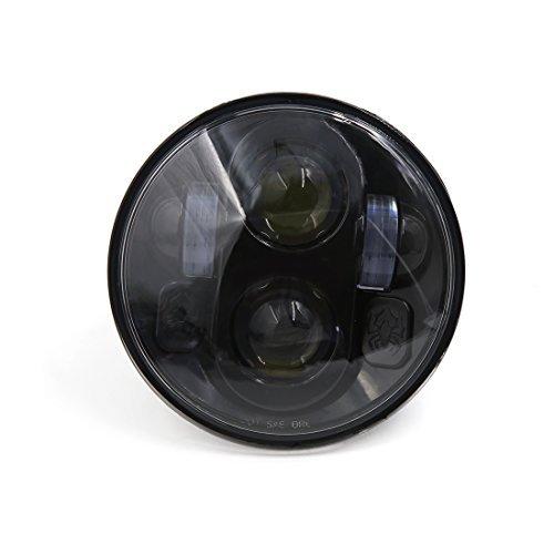 ハーレーダビッドソンHDスポーツスターダイナソフテイル用DealMuxブラックスパイダーパターン5.75 5-3/4 LEDオートバイのヘッドライトプロジェクターDRL電球 B072V3FKC7