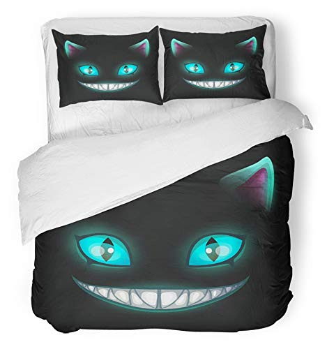 Emvency 3 Piece Duvet Cover Set Breathable Brushed Microfiber Fabric Blue Smile Fantasy Scary Smiling Cat Face on Black Cheshire Alice Eyes Fairy Horror Bedding Set with 2 Pillow Covers Twin Size ()