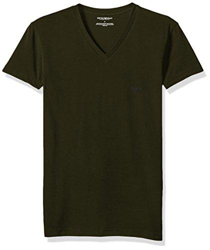 Emporio Armani Men's The Big Eagle Vneck T-Shirt, Military, M