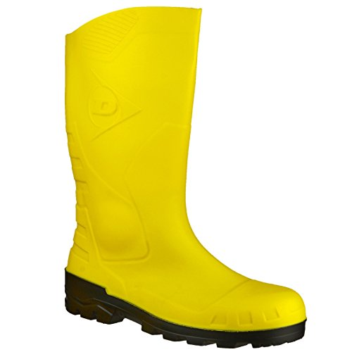 Dunlop - Botas de agua modelo Wellington de seguridad amarillas modelo Devon unisex Amarillo/negro