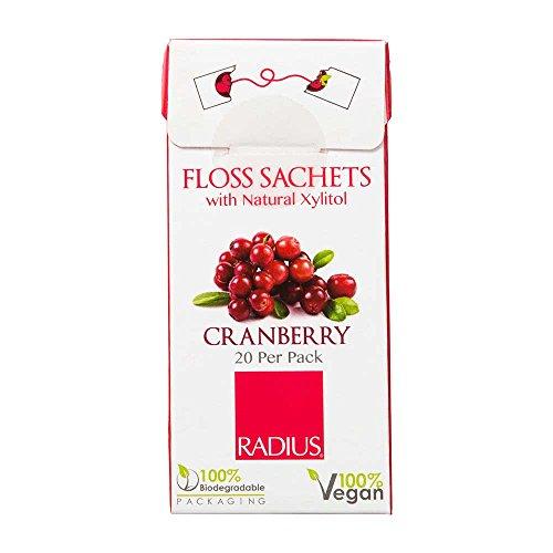 RADIUS Vegan Floss Sachets with Natural Xylitol, Cranberry, 20 Count
