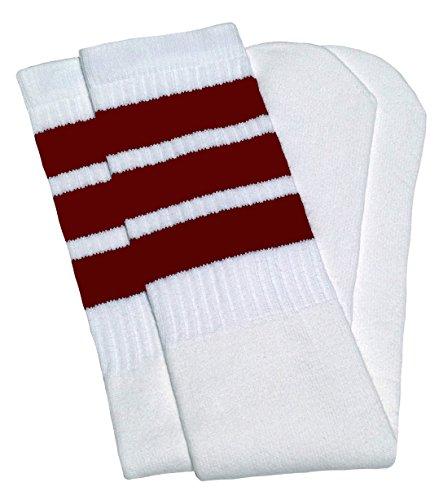 """SKATERSOCKS Skater Socks 25"""" Knee high White Tube Socks with Maroon Stripes Style 1"""