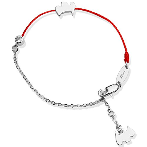 Gold Diamond Dog Charm - Bracelets for women - YouMiYa-LONDON Dog Year 2018 Creative Gifts rose gold Bracelets Dog with wrap and Zodiac Diamond Charms Red Lucky Bracelet Dogs and Wine for teen girl and women (Silver-Bag)