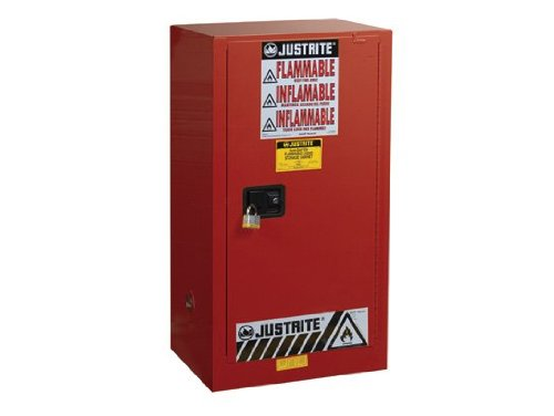 Justrite 891531 Sure-Grip EX Steel 1 Door Self Close Combustibles Safety Cabinet, 20 Gallon Capacity, 23-1/4