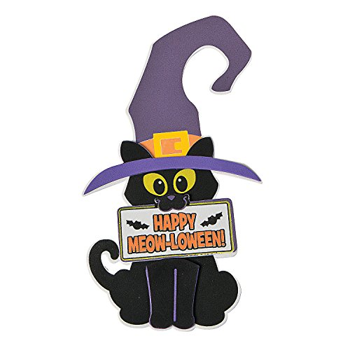 Fun Express - Halloween Cat Door Knob Hanger CK-12 for Halloween - Craft Kits - Hanging Decor Craft Kits - Door Knob Hanger Craft Kits - Halloween - 12 Pieces -