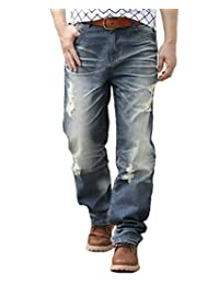 Capturelove Men's Ripped Relaxed Fit Straight Leg Jeans