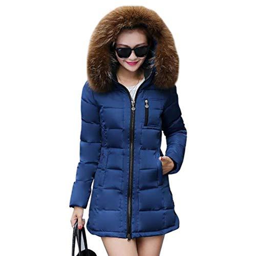 Parkas Blau Termica Retro Outdoor Larga Chaqueta Fashion Piel Con Elegantes Outwear Espesar Fit Slim Mujer Invierno Pluma Capucha Plumas Manga De CgURpnwtqx