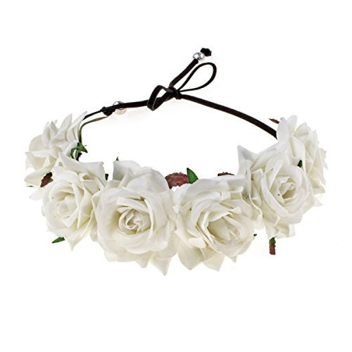 Floral Fall Rose Red Rose Flower Crown Woodland Hair Wreath Festival Headband F-67 (Ivory) ()