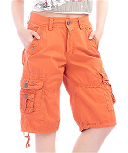 (Women's Utility Straight Fit Casual Cargo Military Shorts with Pockets, Orange, US(4-6) = Tag 31)