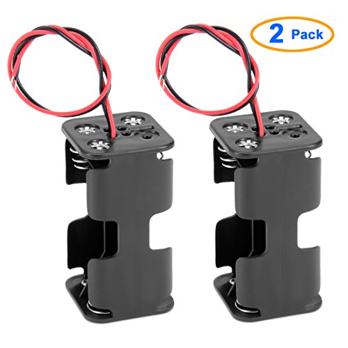 2 Pcs Dual Layers Black Plastic 4 x AA 6V Battery Holder Case Wired