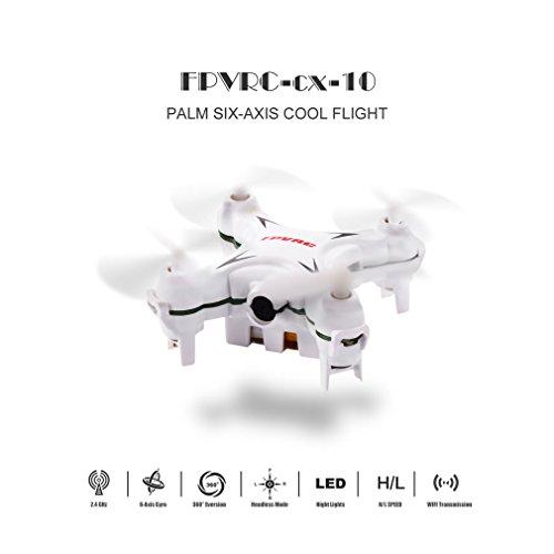 FPVRC-CX-10P-Mini-RC-Quadcopter-24G-4Ch-6Axis-RTF-Pocket-Drone-with-03MP-HD-Camera-White