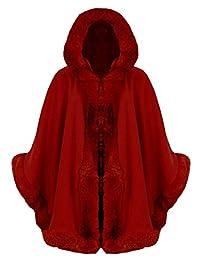 Thever Women Celebrity Italian Faux Fur Hooded Wrap Puncho Cape Ladies Mantle Coat